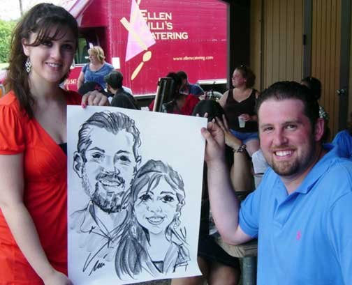 Caricature by Bernie of couple at a summer event